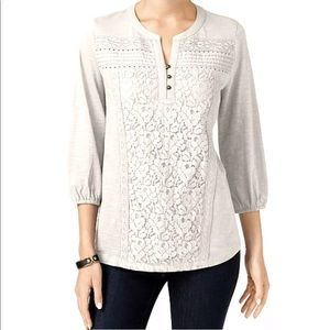 Style & Co Lace Front Henley Shirt Winter White XL